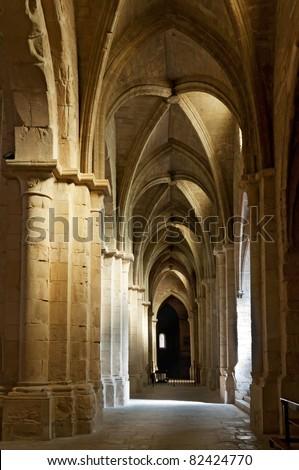Ceiling and columns, cloister of Monastery of Santa Maria de Poblet, Tarragona Province, Spain