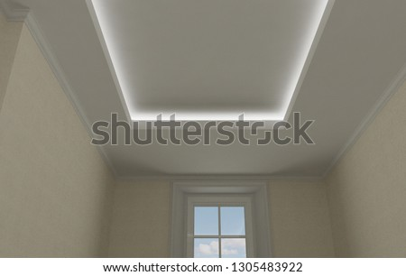 Ceiling close-up in classic interior, vintage room with stucco and moldings, beige wallpaper, illuminated false suspended ceiling design, 3d illustration