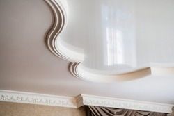 ceiling decoration is made of white plaster. embossed stucco interior