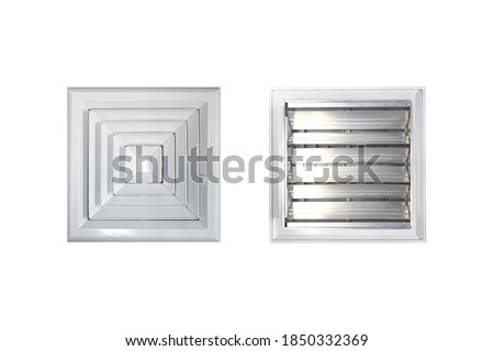 Ceiling Diffuser with volume damper and isolated on white background. Stockfoto ©