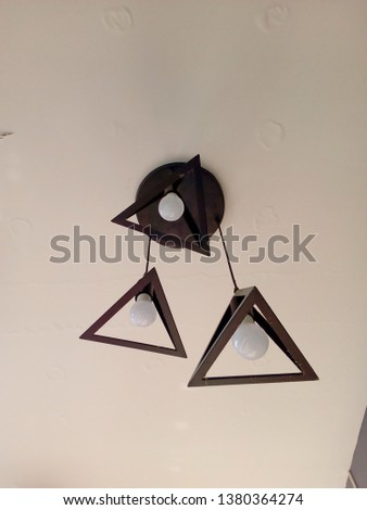 Ceiling lamp, Triangle lamp on the ceiling #1380364274
