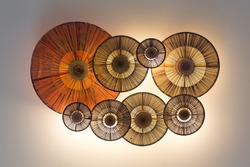 Ceiling lantern made from bamboo weave in Asian traditional style/Chinese lanterns during new year festival ,color toned.