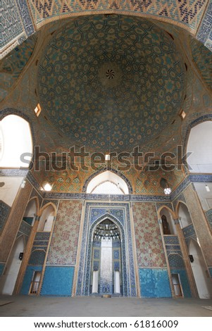 Ceiling of dome of Jameh mosque, the 12th century mosque built in Yazd.