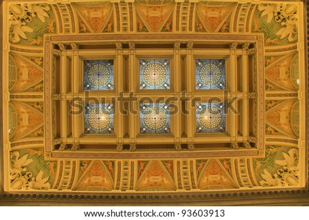 Ceiling of Hall of the Library of Congress, Washington DC, United States