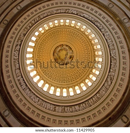 Ceiling of the rotunda, capitol building in washington dc, united states of america