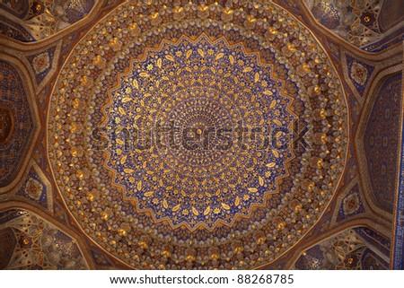 Ceiling of Tilya Kori Madrasah in Samarkand, Uzbekistan