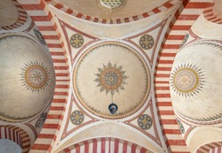 Ceiling or dome of Selimiye Mosque in Edirne, Turkey. The mosque is in UNESCO World Heritage Site. The mosque was commissioned by Sultan Selim II, and was built by architect Mimar Sinan