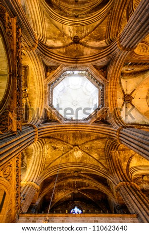 Ceiling the Cathedral of Santa Eulalia in Barcelona's Barri Gotic district.