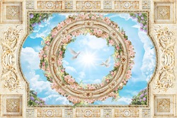 Ceiling with blue sky ornaments and flowers
