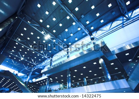 ceiling with lights in office centre