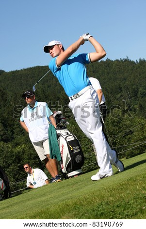 CELADNA, CZECH REPUBLIC - AUGUST 21: Oliver Fisher (ENG) Winner of PGA Tournament at the Czech Open, European Golf Tour, August 21, 2011, at the Celadna Prosper Golf resort, Celadna, Czech Republic