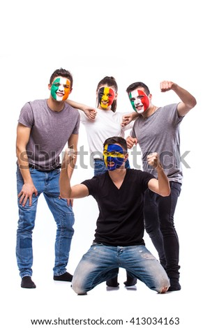 Celebrate atmosphere. Group of football fans support their national team: Belgium, Italy, Republic of Ireland, Sweden at camera on white background. European football fans concept. #413034163