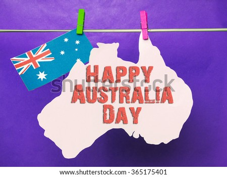Free photos map of australia on australian flag background avopix celebrate australia day holiday on january 26 with a happy message greeting written across white map m4hsunfo