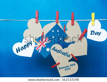 Royalty free celebrate australia day holiday on 357495980 stock celebrate happy australia day holiday on january 26 with a message greeting written across white hearts m4hsunfo