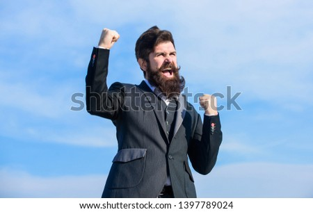 Celebrate success. Hopeful and confident about future. Man bearded optimistic businessman wear formal suit sky background. Success and luck. Optimistic mood. Think like optimist. Being optimistic.