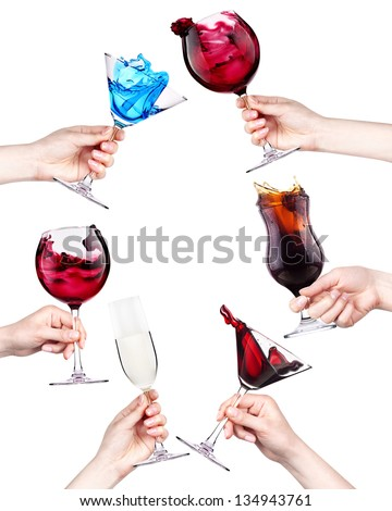 celebrate the holiday background - hands with drinks making toast. wine,cola, cocktail,champagne