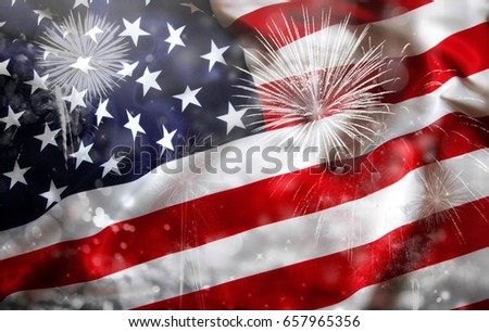 Celebrating Independence Day. United States of America USA flag with fireworks background for 4th of July #657965356