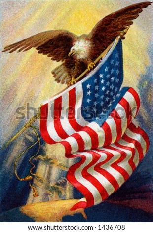 Celebrating ''Old Glory'', our American flag -  a circa 1912 vintage illustration of bald eagle and American flag - stock photo