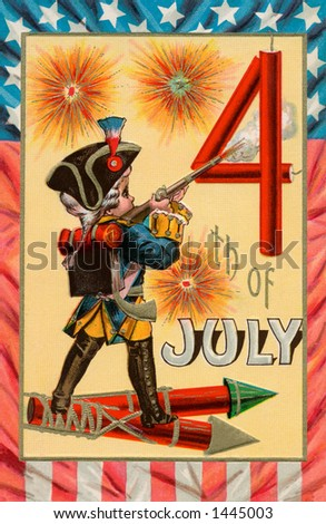 Celebrating the 4th of July -  a 1913 vintage illustration of a boy dressed as a colonial soldier with fireworks.