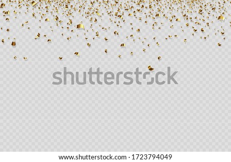Celebration background template with confetti and gold ribbons. luxury greeting rich card. Flying tinsel elements, gold foil texture serpentine streamers confetti falling party.