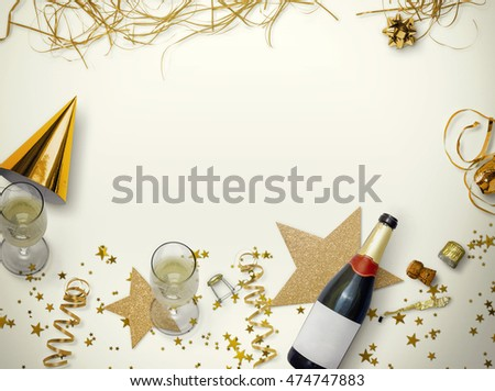 Celebration background with champagne. Golden style holidays background #474747883
