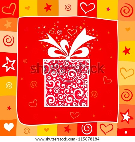 Celebration background with gift box and place for your text.  illustration