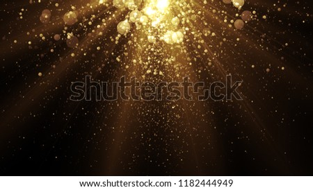 Celebration background with golden particles falling from the top.