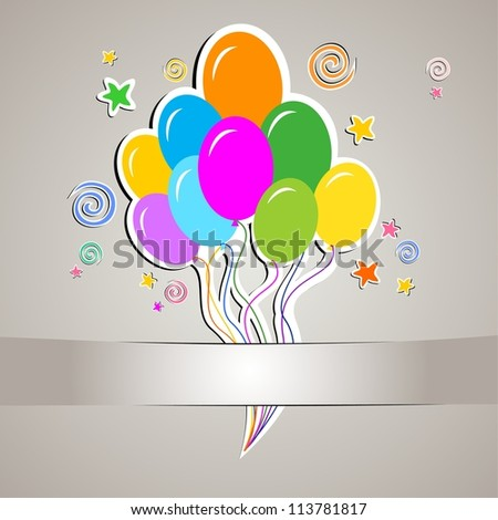 Celebration background with multicolored balloons and place for your text. illustration