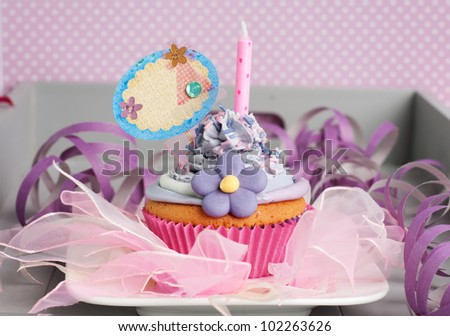 celebration cupcake with label for your text