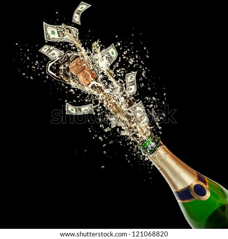 Celebration event with concept of dollar bank-notes splashing out of bottle. Isolated on black background #121068820