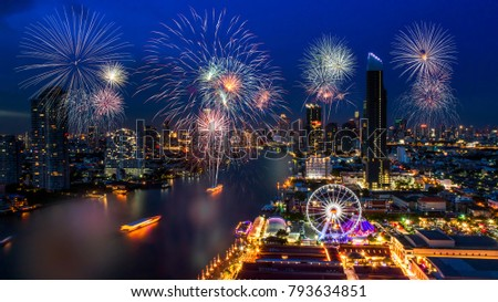 celebration fireworks countdown happy new year bangkok countdown 2018 colorful of fireworks on the