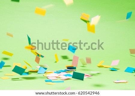 Celebration Flat lay with colorful party items on green background. #620542946