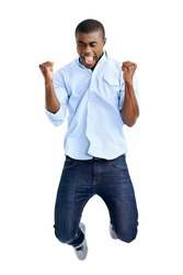 celebration jump of african man with arms out shouting