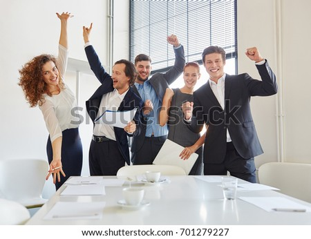 Celebration of business team with enthusiasm in start-up #701279227