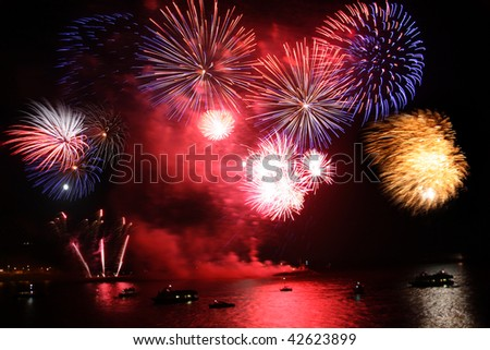 celebration of the new year, firework over the sea