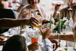Celebration on wedding or event, drinks with family, bar