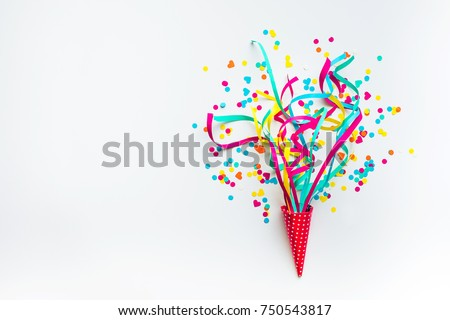 Celebration,party backgrounds concepts ideas with colorful confetti,streamers on white.Flat lay design