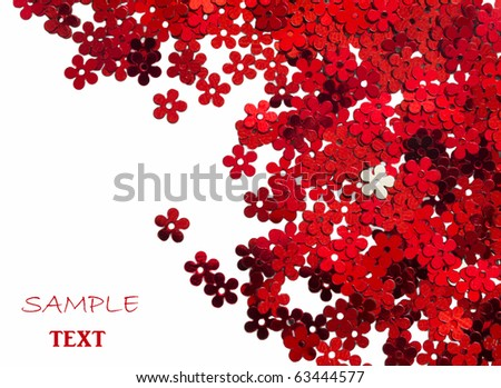 celebration red, floral confetti isolated on white background