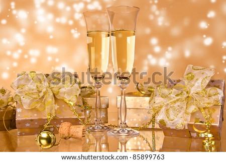 Celebration still life on sparkle blur background