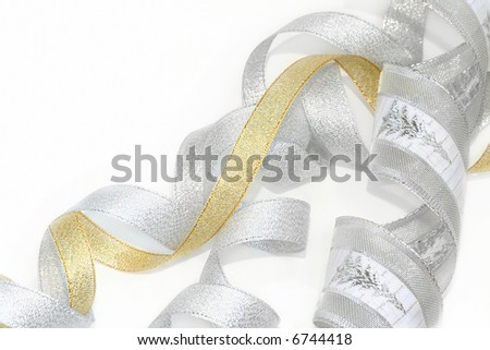 Celebratory and Christmas ribbons / There is a space for your text