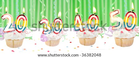 Celebratory birthday cupcakes with lit candles and numbers like twenty, thirty, forty, and fifty with confetti and green striped background