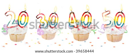 Celebratory birthday cupcakes with lit candles and numbers like twenty, thirty, forty, and fifty with confetti