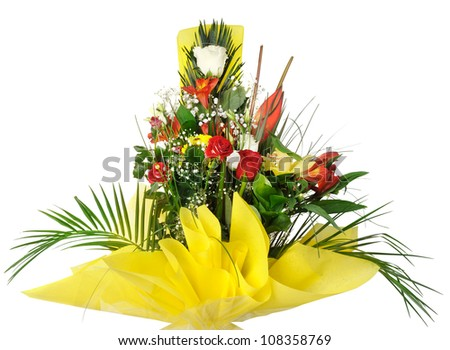Celebratory bouquet of various flowers. It is isolated on a white background
