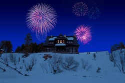 Celebratory fireworks for new year over Traditional wooden mountain house or cottage or chalet in Poland during last night of year. Christmas atmosphere. Winter season, snow above the grass