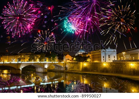 Celebratory fireworks over bridge Vittorio Emmanuel through Tiber. Italy. Rome.