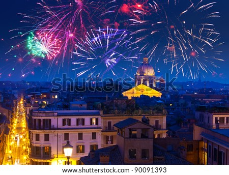 Celebratory fireworks over Rome. Italy
