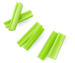 Celery  isolated on white background. Fresh green Celery stiks  top view. Flat lay