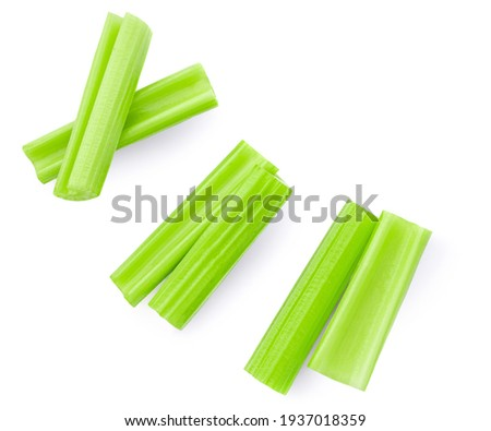 Celery  isolated on white background. Fresh green Celery stiks  top view. Flat lay  Stockfoto ©