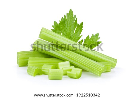 Celery sticks with leaf isolated on white background Stockfoto ©