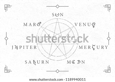 Celestial Objects as Days of the Week Circle Heptagram Seven Roman Capitals Style Logos with Moon Mars Mercury Jupiter Venus Saturn Sun Lettering and Astrological Signs Symbols Vector Design #1189940011